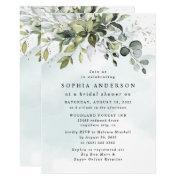 Dusty Blue Eucalyptus Greenery Boho Bridal Shower Invitation