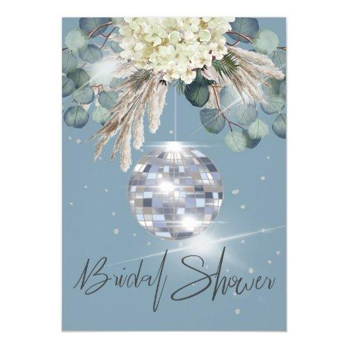 Dusty Blue Floral Disco Ball Bridal Shower Invitation