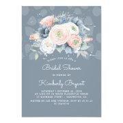 Dusty Blue Peach And Pink Floral Bridal Shower