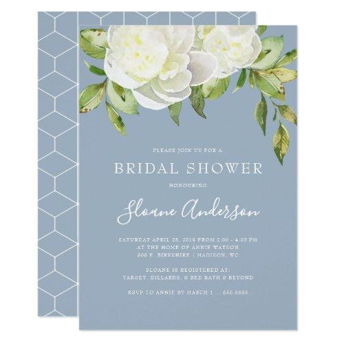 Dusty Blue Spring Floral Peony Bridal Shower Invitations
