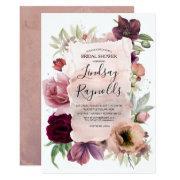 Dusty Pink Burgundy Floral Vintage Bridal Shower Invitation
