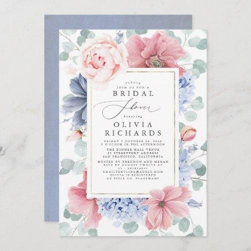 Dusty Rose And Dusty Blue Floral Bridal Shower Invitation