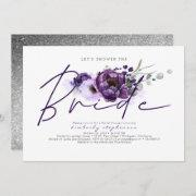 Eggplant Purple Floral Calligraphy Bridal Shower Invitation