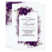 Eggplant Purple Floral Watercolor Bridal Shower