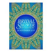 Egyptian Blue Teal Gold Star Bridal Shower Invites