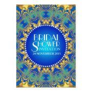 Egyptian Deco Blue Gold Sun Bridal Shower Invites
