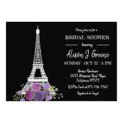 Eiffel Tower Floral Black And White Bridal Shower Invitation