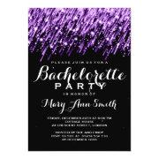 Elegant Bachelorette Party Falling Stars Purple Personalized Invitations