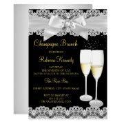 Elegant Black White Lace Champagne Brunch Invite