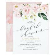 Elegant Blush Floral And Eucalyptus Bridal Shower Invitation