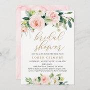 Elegant Blush Watercolor Floral Bridal Shower Invitation