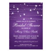 Elegant Bridal Shower Sparkling Lines Purple