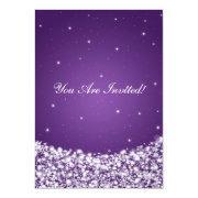 Elegant Bridal Shower Star Sparkle Purple Personalized Invites