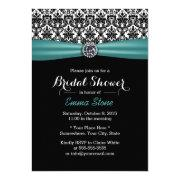 Elegant Bridal Shower Teal Ribbon Damask Diamond