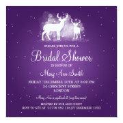 Elegant Bridal Shower Winter Deer Sparkle Purple Personalized Invitations