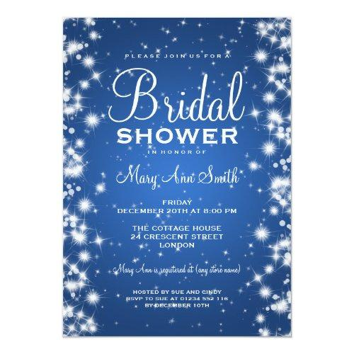 Elegant Bridal Shower Winter Sparkle Blue Invitations