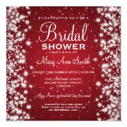 Elegant Bridal Shower Winter Sparkle Red Personalized Announcements