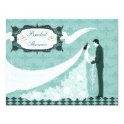 Elegant Bride & Groom Teal Vector Bridal Shower Invitations
