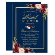 Elegant Burgundy Floral Navy Blue Bridal Shower Invitations