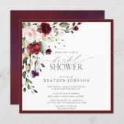 Elegant Burgundy Floral Watercolor Bridal Shower Invitation