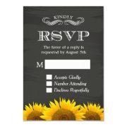 Elegant Chalkboard Sunflowers Decor Rsvp Reply