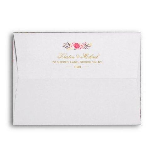 Elegant Chic Gold Pink Floral Wedding Envelope