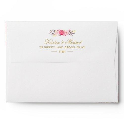 Elegant Chic Gold Pink Floral Wedding Envelope