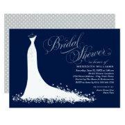 Elegant Dark Navy And Silver Gown Bridal Shower Invitation