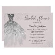 Elegant Dusty Pink Wedding Gown Bridal Shower Invitations