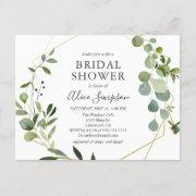 Elegant Geometric Greenery Bridal Shower Invitation Postinvitations