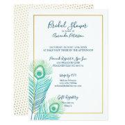 Elegant Gold Peacock Bridal Shower Invitations