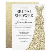 Elegant Gold Sparkle Dress Bridal Shower Invite