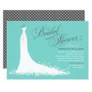 Elegant Gown | Aqua Blue And Gray Bridal Shower Invitation