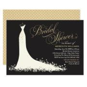 Elegant Gown | Black And Gold Bridal Shower Invitations