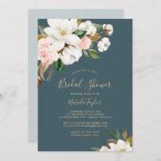 Elegant Magnolia   Teal And White Bridal Shower Invitation
