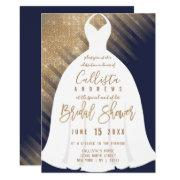 Elegant Navy Blue Gold Glitter Dress Bridal Shower Invitation