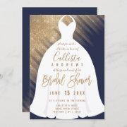 Elegant Navy Blue Gold Glitter Dress Bridal Shower Invitation