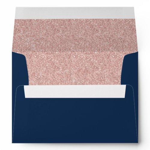 Elegant Navy Blue Rose Gold Glitter Modern Wedding Envelope