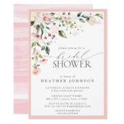Elegant Pink Watercolor Floral Bridal Shower Invitation
