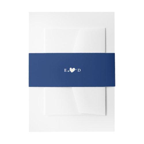 Elegant Plain Royal Blue Wedding Invitation Belly Band