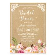 Elegant Rustic Floral Frame Kraft   Bridal Shower
