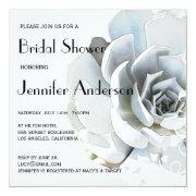 Elegant Silver Gray Blue Succulent Bridal Shower