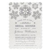 Elegant Silver Snowflake Bridal Shower Invitation
