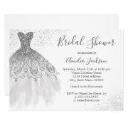 Elegant Silver White Wedding Gown Bridal Shower Invitation