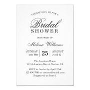 Elegant Simple Plain Black And White Bridal Shower Invitations