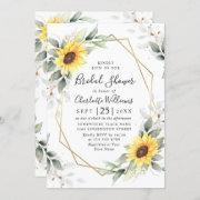Elegant Sunflower Greenery Floral Bridal Shower Invitation