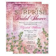Elegant Vintage Pink Surprise Bridal Shower Invitation
