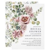 Elegant Watercolor Peonies Floral Bridal Shower Invitation