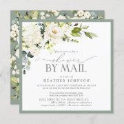 Elegant White Floral Watercolor Bridal Shower Mail Invitation