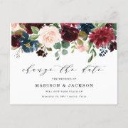 Enchanted Floral Change The Date Wedding Announcement Postinvitations